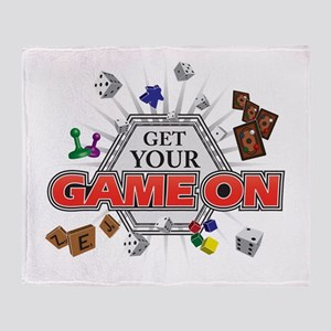 Get Your Game On - Black Throw Blanket