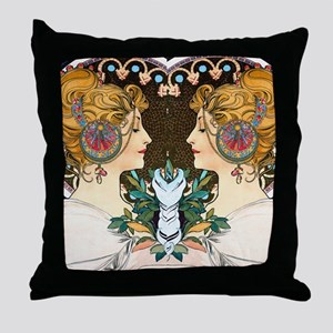 FF Mucha Feather Throw Pillow