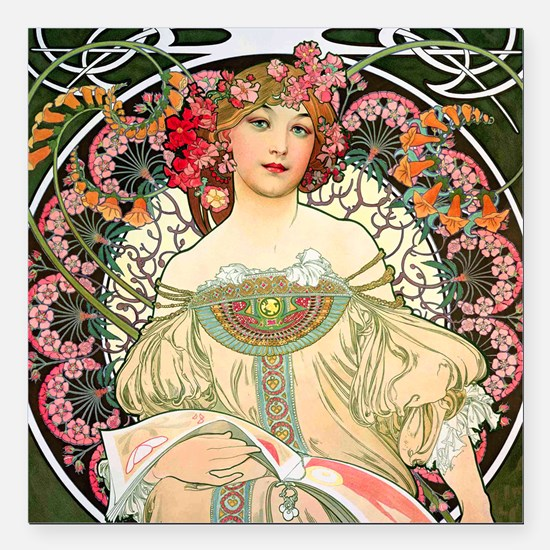"Pillow Mucha Champ Square Car Magnet 3"" x 3"""
