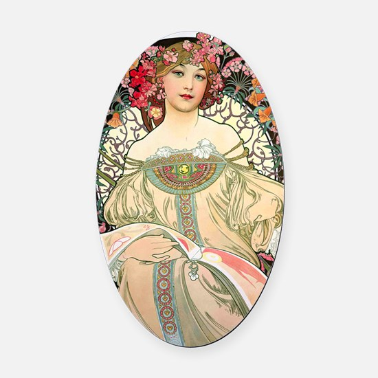 Journal Mucha FChamp Oval Car Magnet