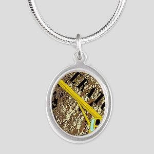 Lil Crane Operator 2 Silver Oval Necklace
