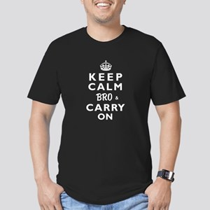 KEEP CALM BRO & CARRY ON -wt- Men's Fitted T-Shirt