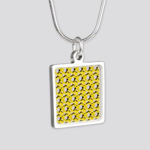 bumble bee Silver Square Necklace