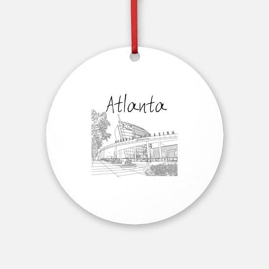 Atlanta_10x10_GeorgiaAqarium_Black Round Ornament