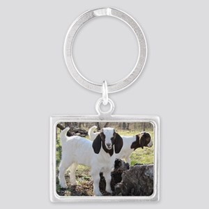 Twin Goats In The Woods Landscape Keychain