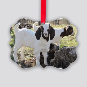 Twin Goats In The Woods Picture Ornament