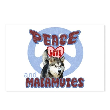 PEACE LOVE and MALAMUTES Postcards (Package of 8)