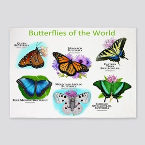 Butterflies of the World 5'x7'Area Rug