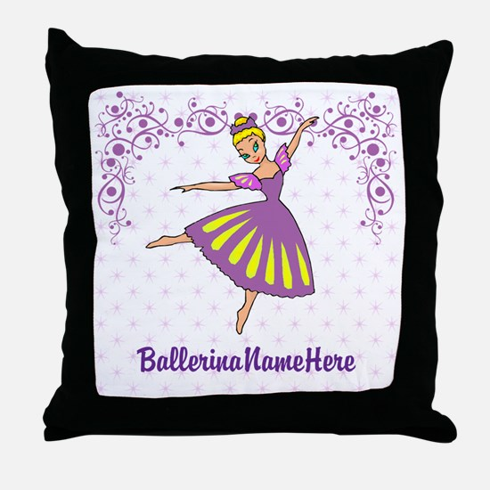 Personalize Your Purple Ballerina! Throw Pillow