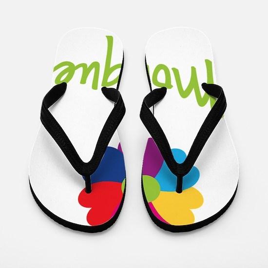 Monique-Heart-Flower Flip Flops