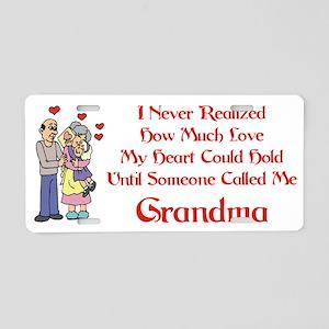 Grandmas love Aluminum License Plate
