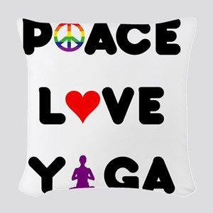 peace love yoga layer Woven Throw Pillow