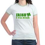 Irish I was Drunk St. Patrick Jr. Ringer T-Shirt