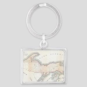 1849_Land_Survey_Map_of_Michiga Landscape Keychain