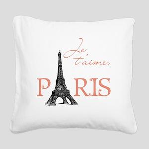 tshirt_pinkblack1_paris Square Canvas Pillow