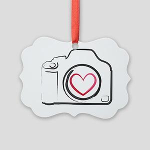 DSLR Camera Heart Picture Ornament