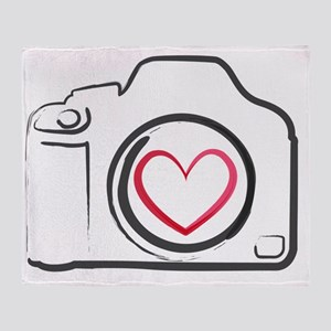 DSLR Camera Heart Throw Blanket