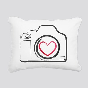 DSLR Camera Heart Rectangular Canvas Pillow