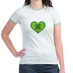 Irish Shamrock Heart St. Part Jr. Ringer T-Shirt