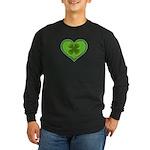Irish Shamrock Heart St. Part Long Sleeve Dark T-S