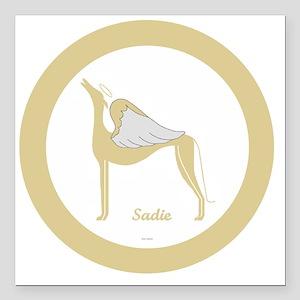 "SADIE ANGEL GREY GOLD RI Square Car Magnet 3"" x 3"""
