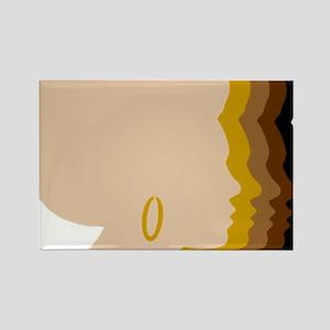 Women Afro Five Tones Rectangle Magnet
