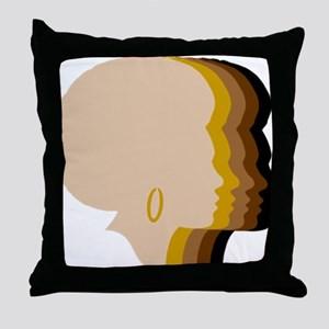 Women Afro Five Tones Throw Pillow