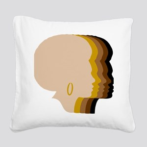 Women Afro Five Tones Square Canvas Pillow