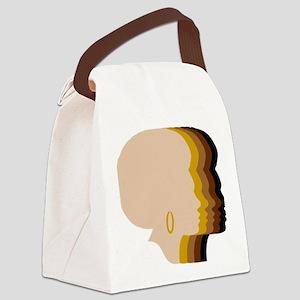 Women Afro Five Tones Canvas Lunch Bag