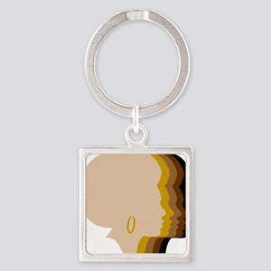 Women Afro Five Tones Square Keychain