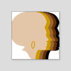 "Women Afro Five Tones Square Sticker 3"" x 3"""