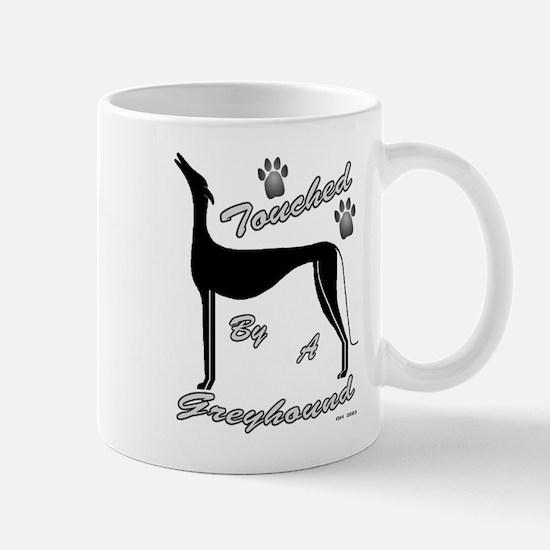BLACK Touched by a Greyhound Mug