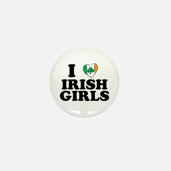I Love Irish Girls Heart Mini Button