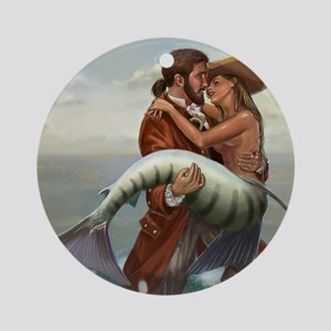 pirate and mermaid mousemat Round Ornament