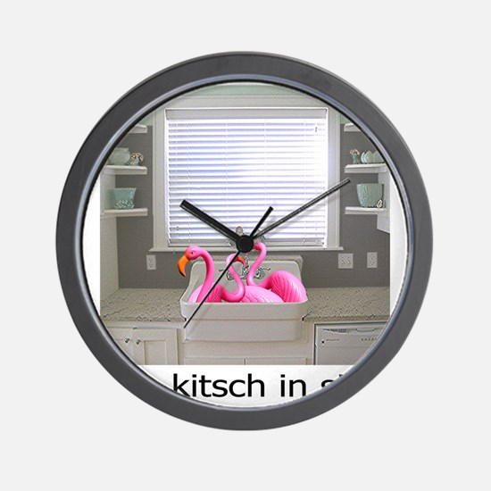 sink flamingos 1 Wall Clock