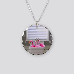 sink flamingos 1 for black c Necklace Circle Charm