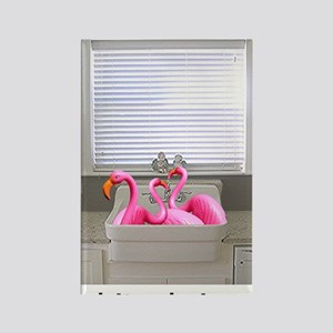 sink flamingos 1 for black copy Rectangle Magnet