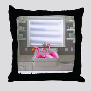 sink flamingos 1 for black copy Throw Pillow
