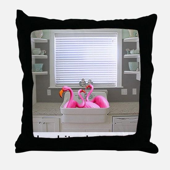 sink flamingos 1 for black copy Throw Pillow