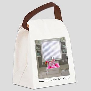 sink flamingos 1 for black copy Canvas Lunch Bag