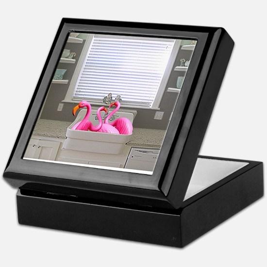 sink flamingos 1 for black copy Keepsake Box