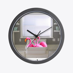 sink flamingos 1 for black copy Wall Clock