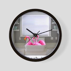 sink flamingos 1 for black copy Wall Clock