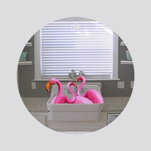 sink flamingos 1 for black copy Round Ornament