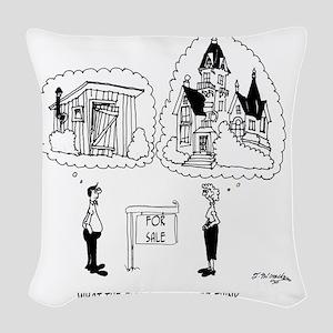 5964_real_estate_cartoon Woven Throw Pillow