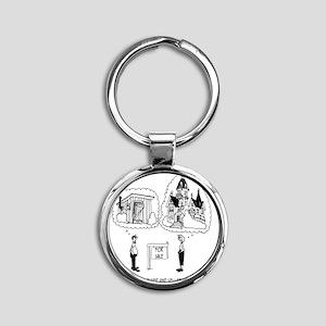 5964_real_estate_cartoon Round Keychain