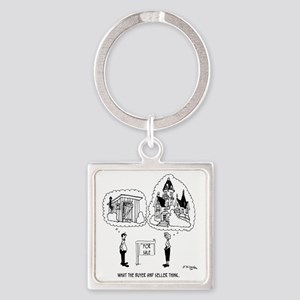 5964_real_estate_cartoon Square Keychain