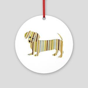 Striped Dachshund Puppy Ornament (Round)