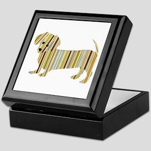Striped Dachshund Puppy Keepsake Box