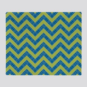 Blue Lime Boy Chevrons Throw Blanket
